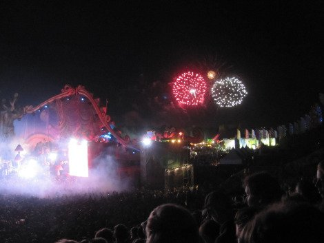 Fireworks during Faithless' set
