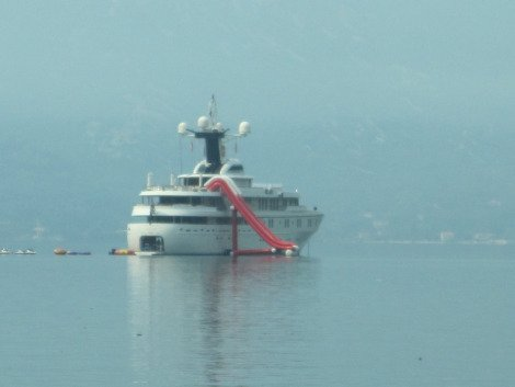 Super yacht in Bay of Kotor, including water slide, Solo Travel Montenegro
