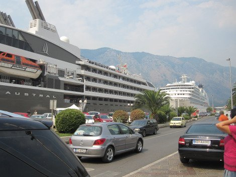 Cruise ships docked at Kotor.  Solo Travel Montenegro
