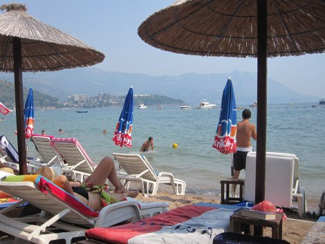 Looking south from the sun lounge, Slovenska Beach  Solo Travel Montenegro