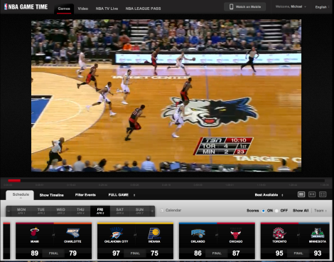 The NBA Game Time via browser