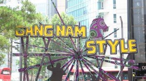 GangnameStyle artwork erected in the centre of Gangnam Gu