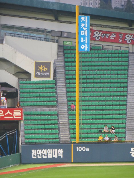100m back fence at the Foul Line Baseball in Korea