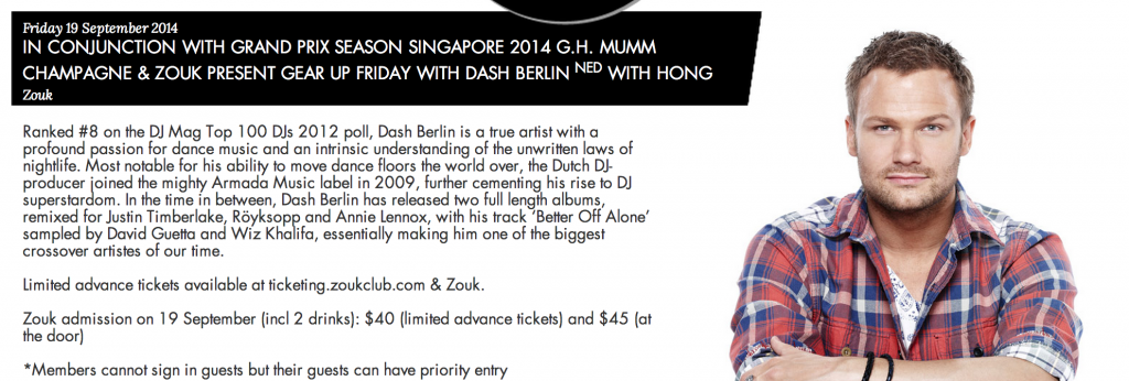 Dash Berlin at Singapore Grand Prix 2014