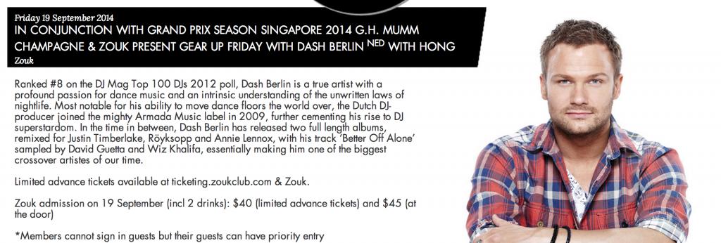 Dash Berlin at Singapore Grand Prix 2014
