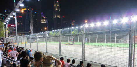 The Singapore GP is run at night on a street circuit.