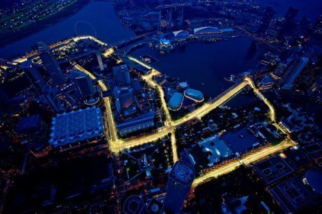 Like a glowing snake - the stunningly unique Marina Bay Street Circuit.