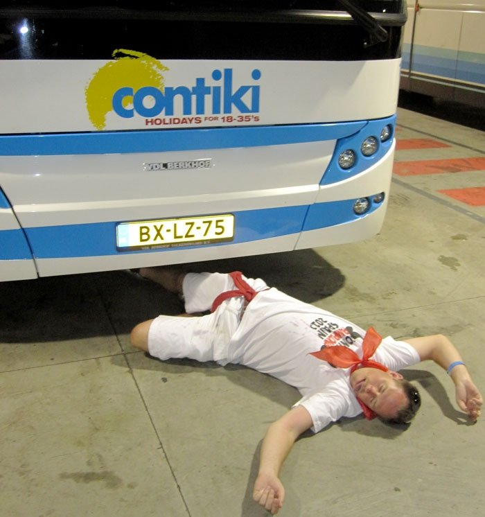 Smashed by Contiki Coach.