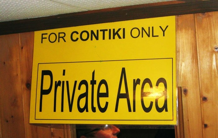 Private Contiki Sign.