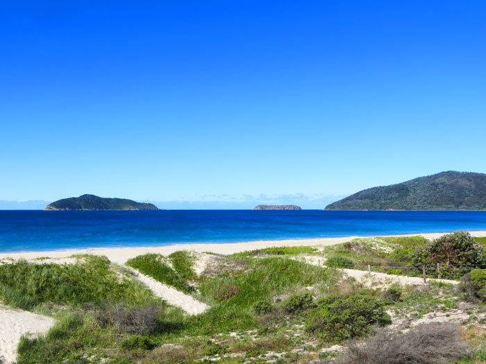 Offshore Islands as seen from Hawkes Nest Beach. Myall Lakes National Park