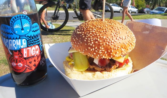 American Burger and guilt free Karma Cola from Top Shop Byron Bay Australian East Coast Road Trip
