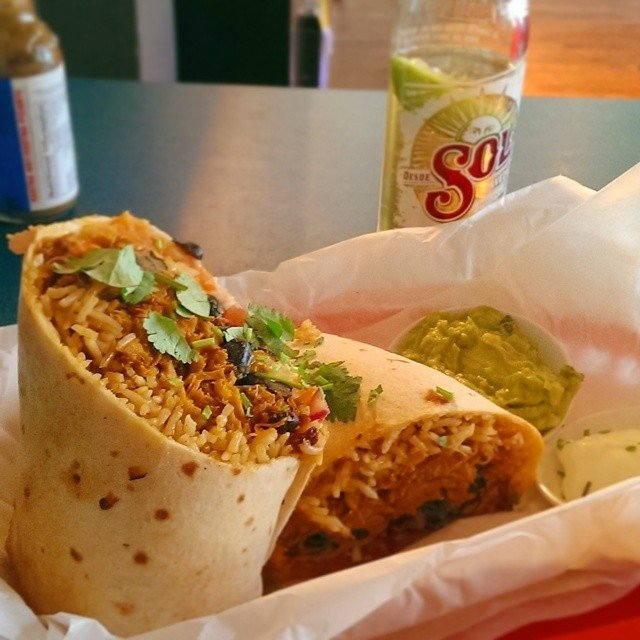 Pulled Pork Burrito and Sol from Miss Margarita Byron Bay, Australian East Coast Road Trip