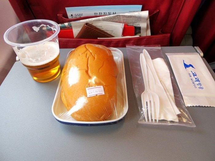 Air Koryo Inflight Meal - Chicken Burger and Beer
