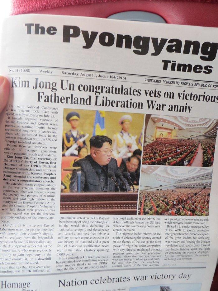Pyongyang Times on board Air Koryo - North Korean Airlines