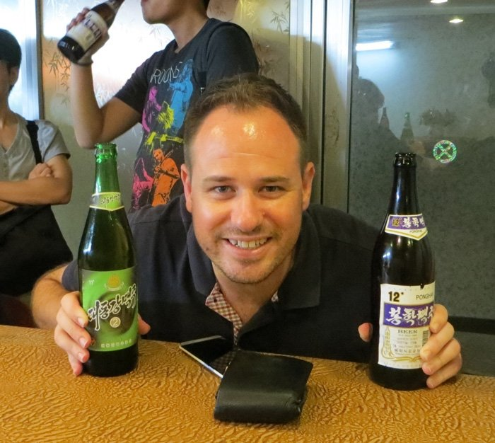 Trialling the local brews in the Yanggakdo International Hotel Ping Pong bar