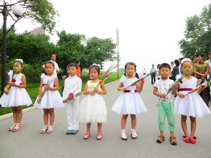 North Korean Children Frowning