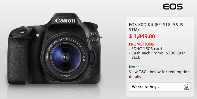 Canon retail price from the Canon Singapore website.