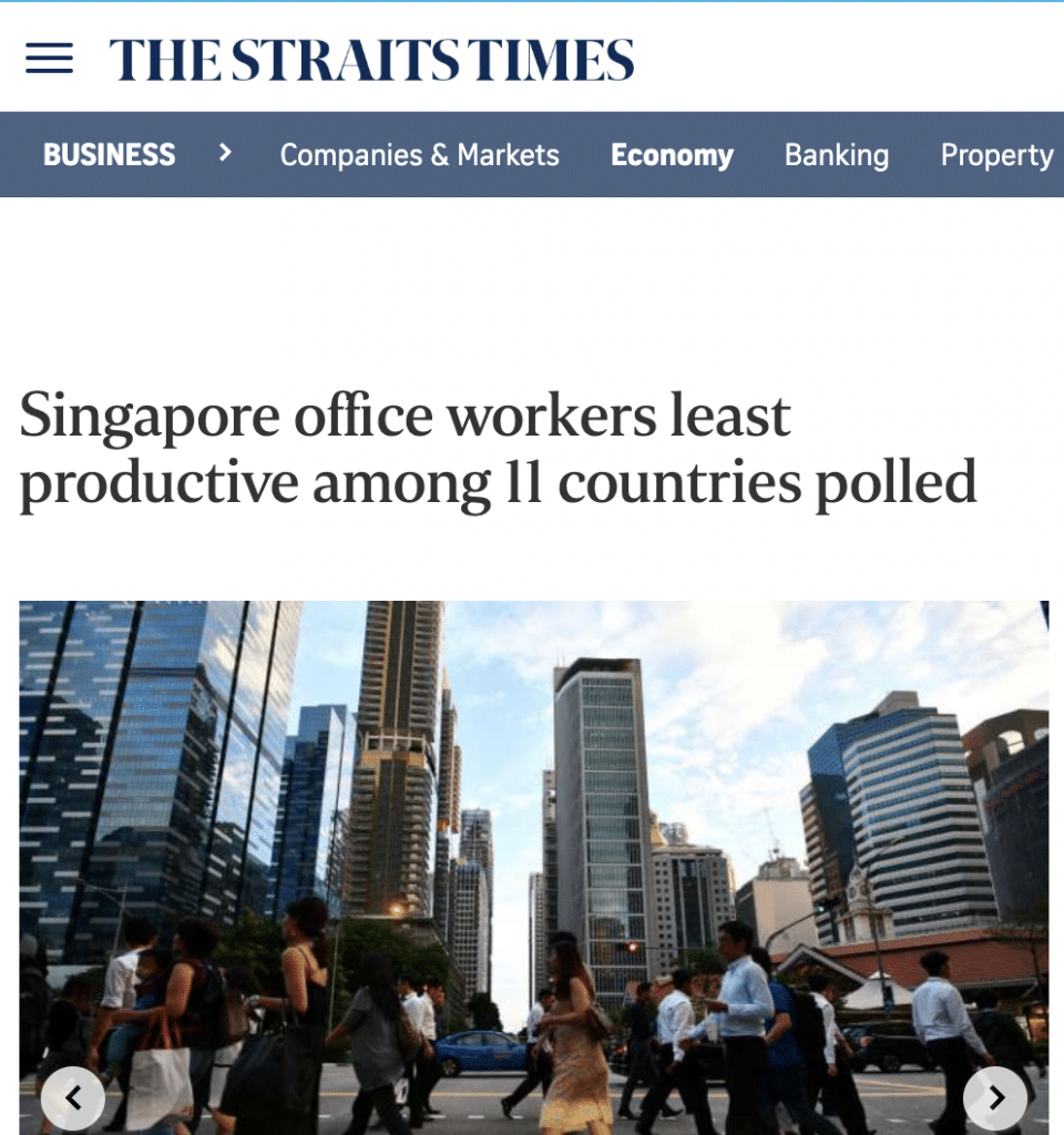 Straights Times - Singapore Workers least productive